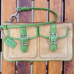 Coach Bags - COACH Oversized  2 pocket Tan Suede Wristlet